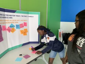 Workshop participant considers the first 3 things to address if she were elected Mayor today